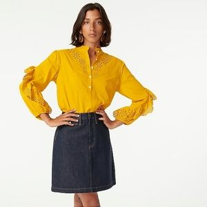 🆕️J. CREW Ruffle Sleeve Embroidered Eyelet Top🆕️